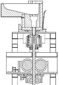 Technical drawing of a strip-casting tundish for the in-situ production of High Modulus Steels by filler injection