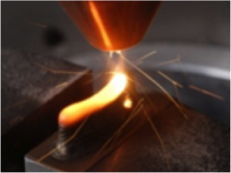 A turbine blade being produced by Laser Metal Deposition (LMD).