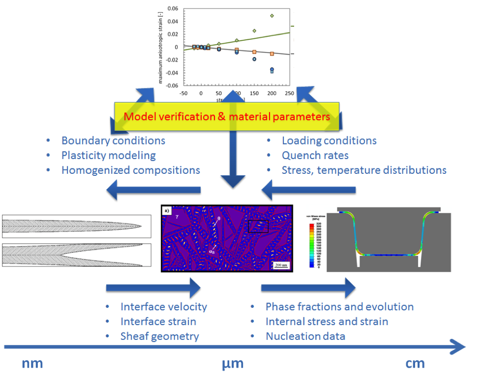 Work flow in the project: On the lowest scale, the description of individual bainite needles is carried over to intermediate scales of bainite sheaves and representative volume elements. This is carried over to JMAK descriptions on macroscopic scales.