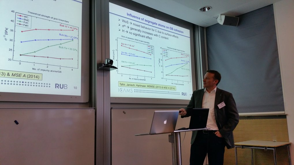 Prof. Hartmaier (ICAMS) during his talk about a recent research project concerning materials simulation and hydrogen embrittlement.