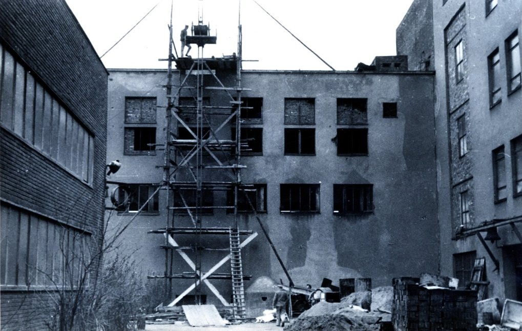 A scene from the reconstruction work in January 1949.