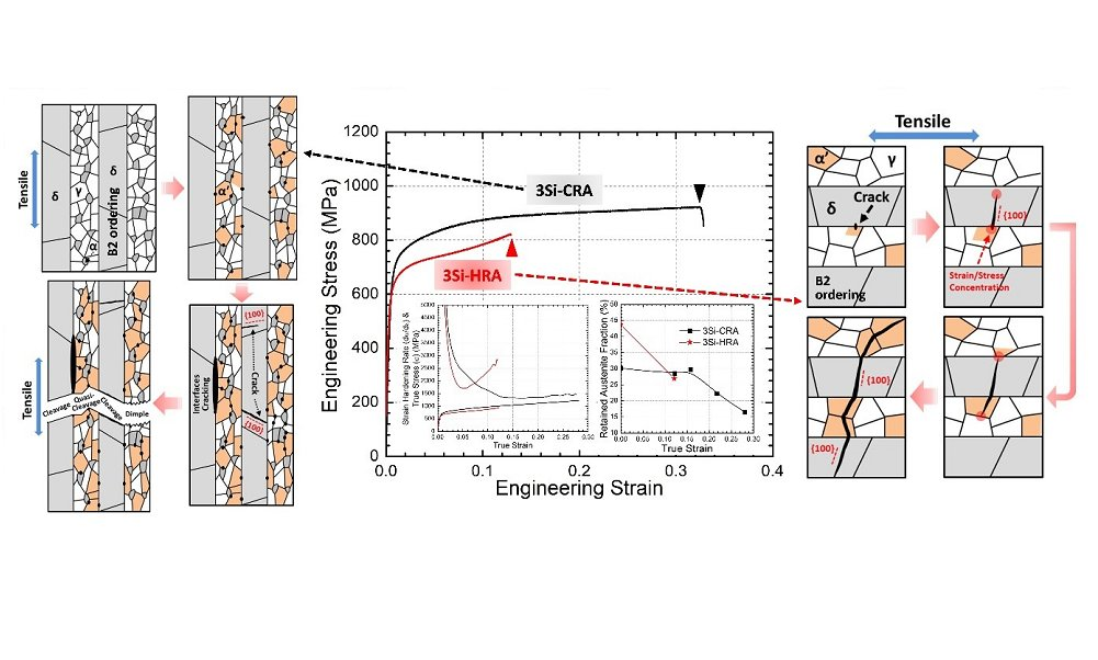 Damage and fracture mechanisms in multiphase medium Mn steels